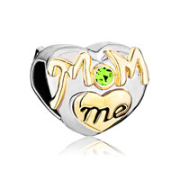 Mom Charms Heart Green Swarovski