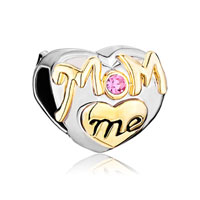 Mom Charms Heart Pink Swarovski