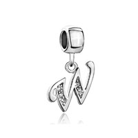 Letter Initial W April Birthstone Dangle Alphabet Beads Charm Bracelet