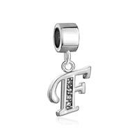 Letter Initial F April Birthstone Dangle Alphabet Beads Charm Bracelet