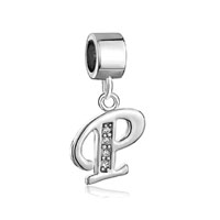 Letter Initial April Birthstone Dangle Alphabet Beads Charm Bracelet
