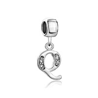 Letter Initial Q April Birthstone Dangle Alphabet Beads Charm Bracelet