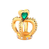 Filigree Golden Crown Holding Green Element Crystal Heart Charm Love