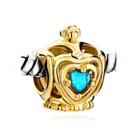 Golden Crown Blue Aquamarine Crystal Heart Charm Bracelet Beads