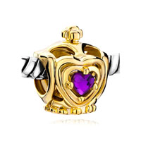 Golden Crown February Births Purple Crystal Heart Charm Bracelet Beads