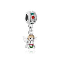 Multi Color Birthstone Crystal Angel With Wings Dangle Beads Charm Bracelet
