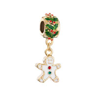 Silver Holly Charm Bracelet Spacers Gingerbread Man Cookie Bracelets