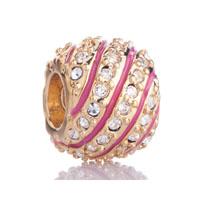 Gold S Peach Celtic Weave Crystal Metal European Bead Charm Bracelet