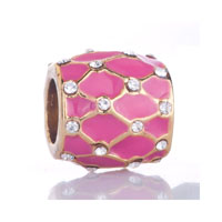 Pink Grid Clear White Crystal Golden Gift Fit Gold Plated Beads Charms Bracelets All Brands