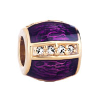 Amethyst Clear White Crystal On Golden Bar Gift Fit All Brands Gold Plated Beads Charms Bracelets