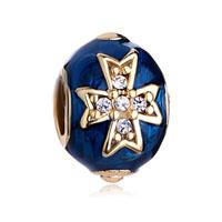 Blue Celtic Cross Bracelet Charm Crystal Faberge Egg Charm Bracelets