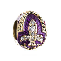 Amethyst Purple Fleur De Lis Charm Crystal Faberge Egg Beads Charms