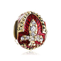 22k Golden Garnet Red Drip Gum Fleur De Lis Charm Crystal Faberge Egg