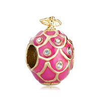 22 K Golden Rose Pink Drip Gum Bird Crystal Faberge Egg Gold Plated Beads Charms Bracelets Fit All Brands