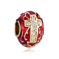 Red Celtic Claddagh Irish Cross Crystal Faberge Egg Gold Plated Beads Charms Bracelets Fit All Brands