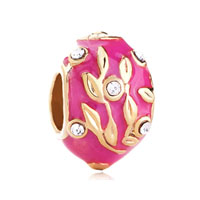 Leaves Faberge Egg And For Necklaces Pink Rose Crystal Russian Gold Plated Beads Charms Bracelets Fit All Brands