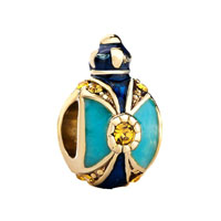 Crown Sapphire Blue Light Topaz Crystal Faberge Egg Bead Charms