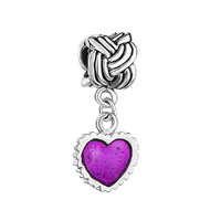 Serrate Edge Heart Charm Bracelet Purple Drip Gum Dangle Beads