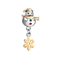 Cute Snowman Horn Green Red Crystal Dangle S Snowflake Bead Charm Gold
