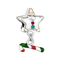 Pointed Star Shaped Santa Claus Green Crystal Dangle Stick Charms