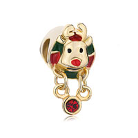 Golden Charm Rudolph Reindeer Red Green Drip Gum Dangle Crystal