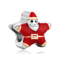 Silver Red Santa Claus European Infant Charm Bead Charms Bracelets