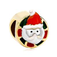 Vivid Santa Claus Red White Drip Gum Hat Beads Charm Bracelets Gold