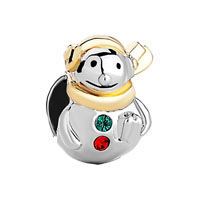 Silver Plated Cute Snowman European Infant Charm Bead Charm Bracelet
