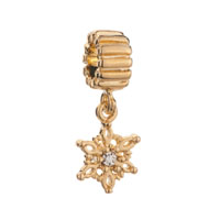 Golden Snowflake Dangle Clear Crystal Jewelry Gold Plated Beads Charms Bracelets Fit All Brands