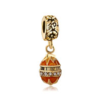 Golden Faberge Egg Dangle Bead Charm Bracelets Bead Charm Bracelets