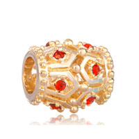 Golden Oval Red Crystal July Birthstone Euro Gold Plated Beads Charms Bracelets Fit All Brands