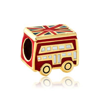 Silver Red School Bus London Bracelet Charm Gold European Bead Gift