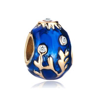 22k Golden Sapphire Blue Drip Branches Faberge Egg Bead Charm Charm