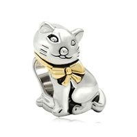 Gifts 22k Gold Silver Cute Cat Animal Charms For Bracelets Charm