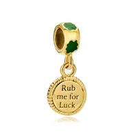 22k Gold Clover Rub Me For Luck St Patrick Bead Charm Charm Dangle