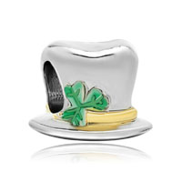 22k Gold Clover Magician Hat St Patrick Bead Charm Bracelets Charm