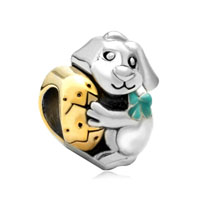 22k Gold Plated Silver Tone Rabbit Bunny Holding Easter Egg Bead Charm