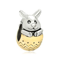 22k Gold Plated Silver Tone Cute Rabbit Bunny Easter Bead Charm