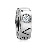 Apr Births Clear White Crystal Diamond Charm Accent Love Bead Charm