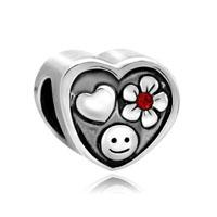 Silver Silver Tone Heart Cute Smile Flower Charm Bracelet Love
