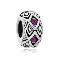 Amethyst Purple Swarovski Crystal Rhombus Bead Designer Charm Bracelet