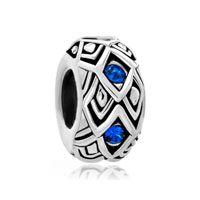 Blue Crystal Diamond Accent Silver Charm Bracelet Spacer Wheel Charm