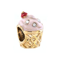 Gold Cup White Crystal April Births Rose Pink Ice Cream Bead Charm