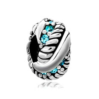 Aquamarine Blue Crystal Diamond Accent Silver Charm Spacer Wheel Charm