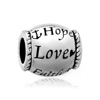 Hope Love Faith Silver Tone Barrel Bead Designer Charm Bracelet Charm
