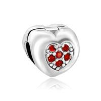 Red Crystal Flower Charms Bracelets Heart Love Clip Lock Stopper