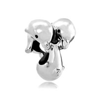 Silver Love Dolphin Animal Charm For Bracelets Family Kissing Beads