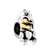Peanut Cute Squirrel Animal For Two Tone Plated Beads Charms Bracelets Fit All Brands