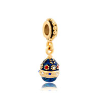 Blue Easter Faberge Egg Flower Dangle Golden Charm Bracelet Spacers