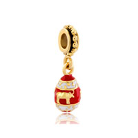 Red Easter Faberge Egg With Bull Animal Charms For Dangle Spacer